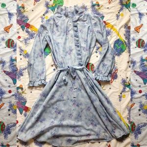 VTG 70s Sheer Floral Ruffle Hem Babydoll Dress